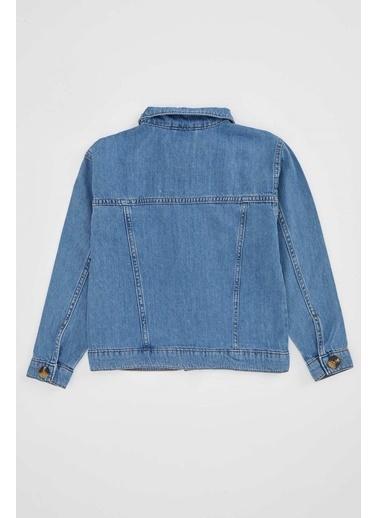 DeFacto Kız Çocuk Düğmeli Jean Ceket Mavi